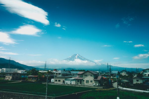 Black eggs, Mount Fuji, and a lady with horns.
